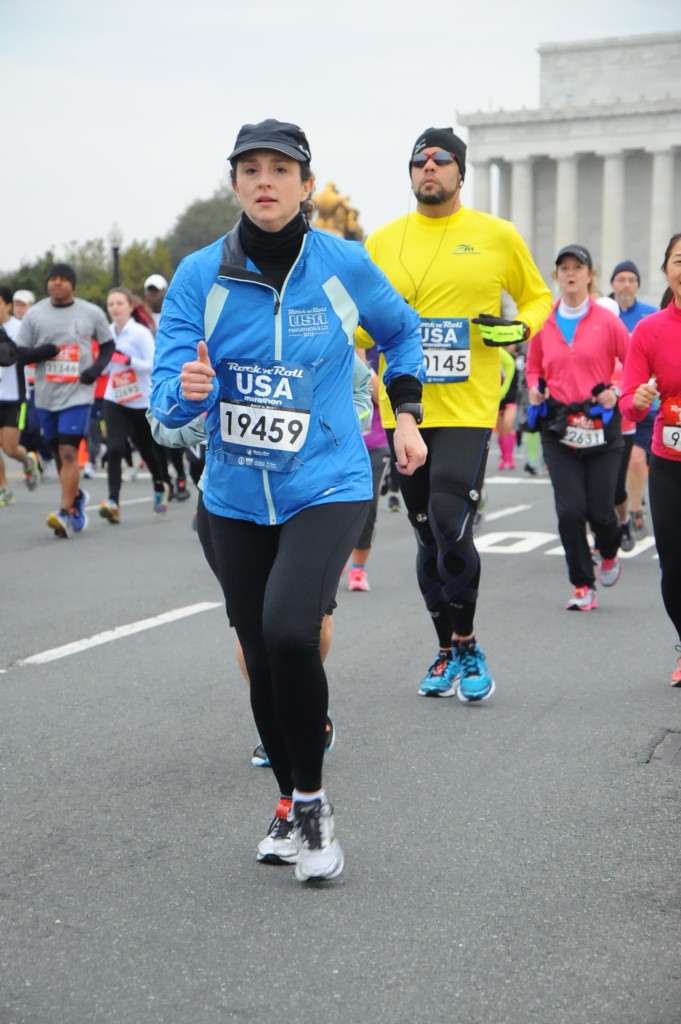 """""""Get outta my shot, lady!"""" Running past the Lincoln Memorial."""