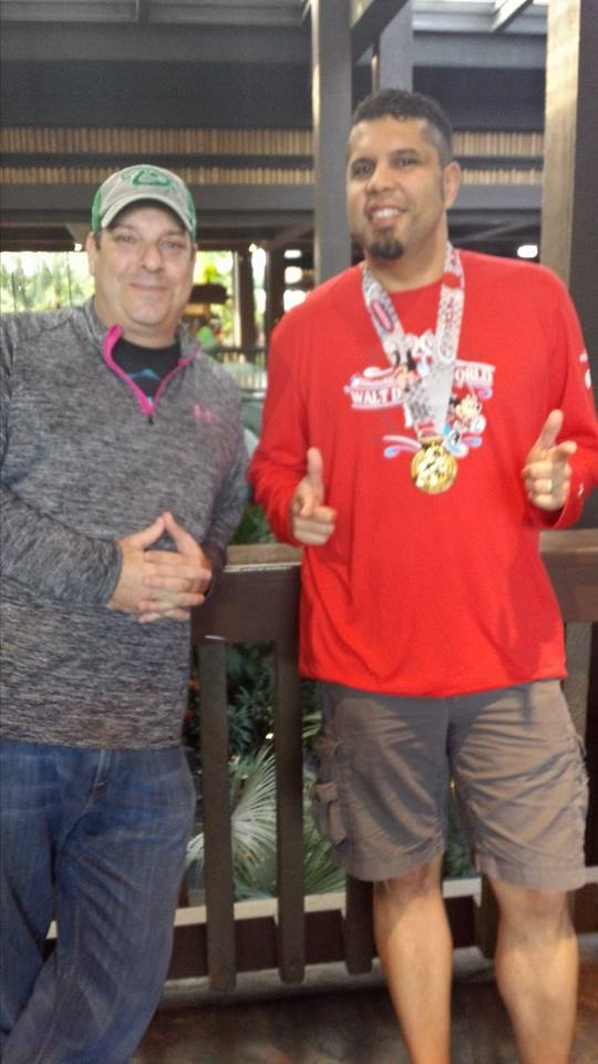 My buddy Jeff and I before breakfast at the Polynesian Resort...