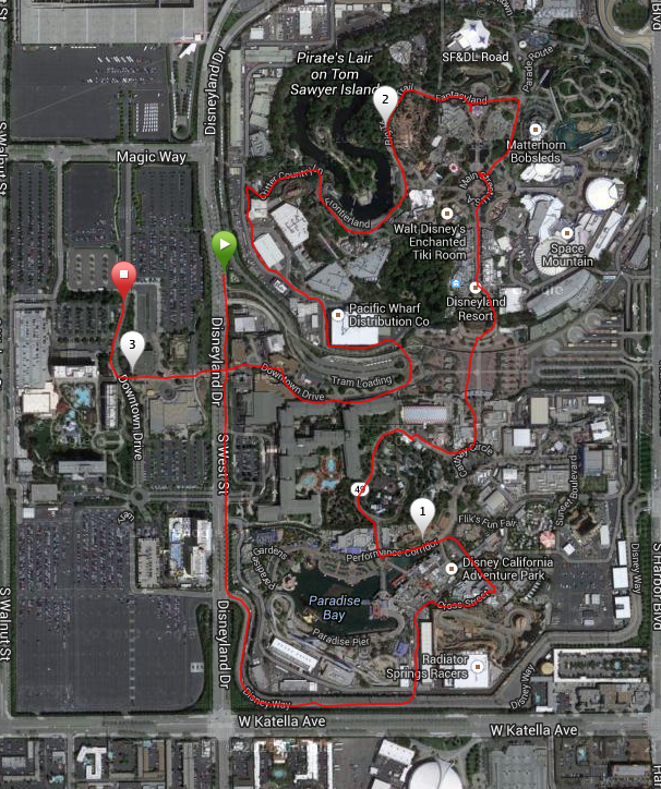 The 2014 Disneyland 5K course.