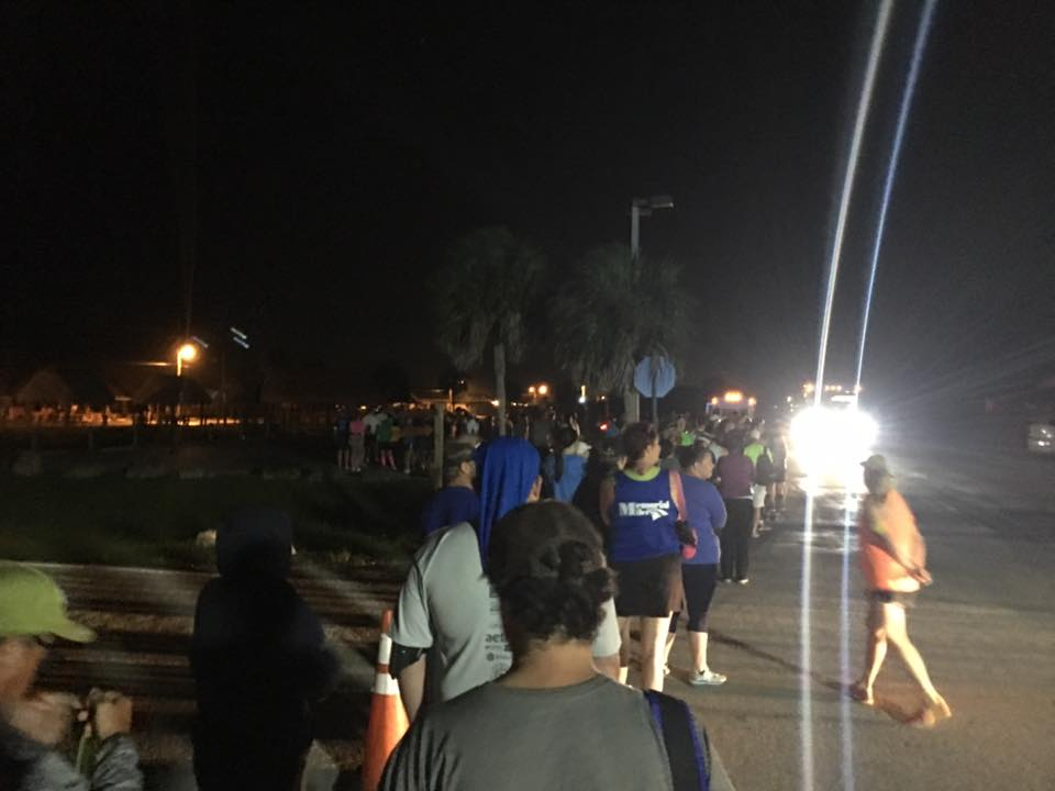 The line for the shuttle at the Miccosukee Village.